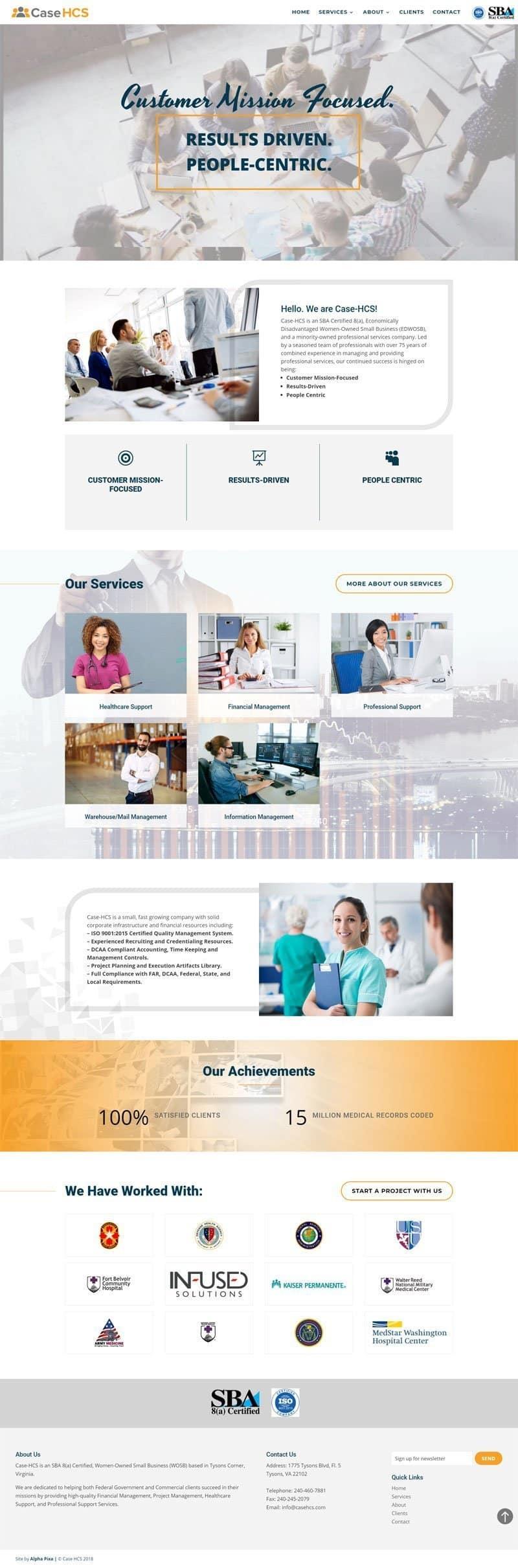 Screenshot of the Case HCS Website by Alpha Pixa