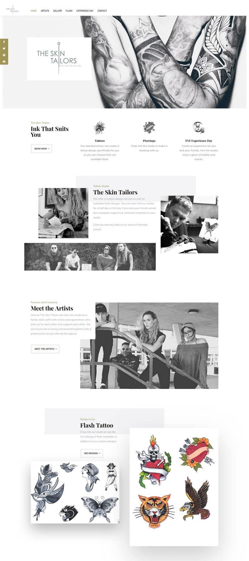 Screenshot of the Skin Tailors Website by Alpha Pixa