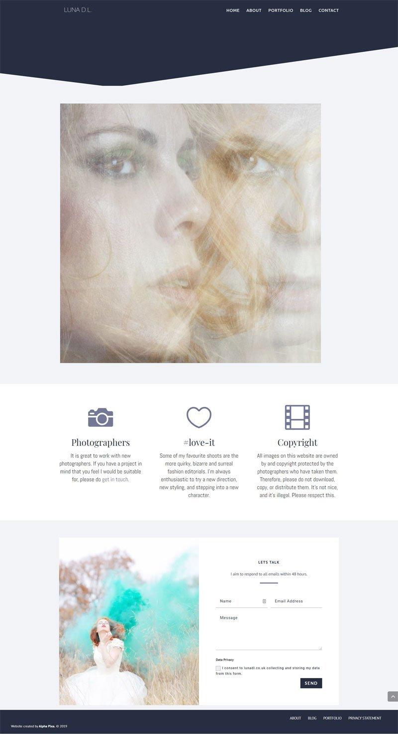 Screenshot of the Luna DL Website by Alpha Pixa