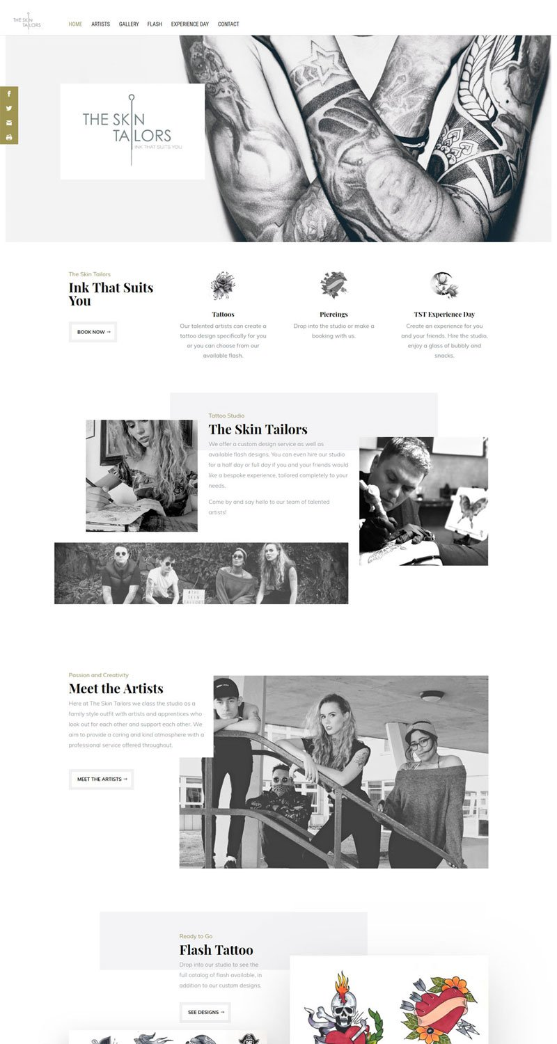 Screencapture of the Skin Tailors website homepage