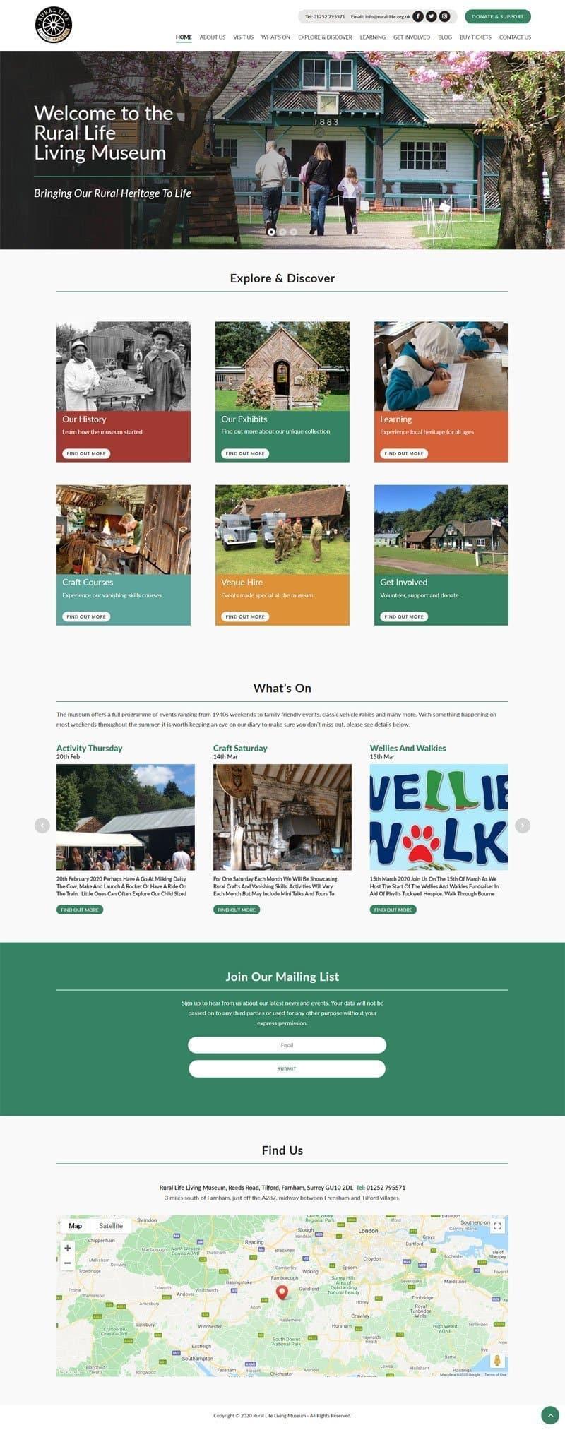 Screenshot of the Rural Life Living Museum Website