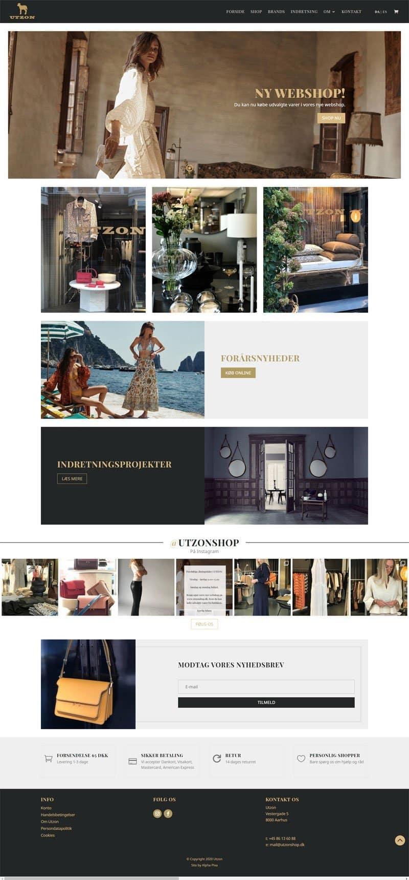 Screenshot of the Utzon Shop Website by Alpha Pixa
