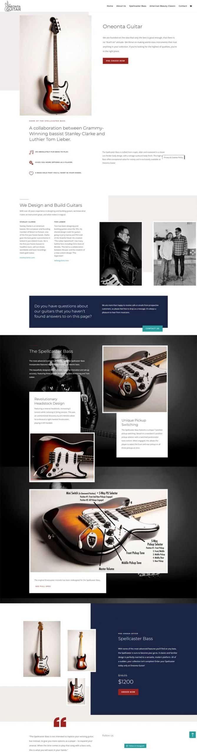 Screenshot of the Oneonta Guitar Website by Alpha Pixa