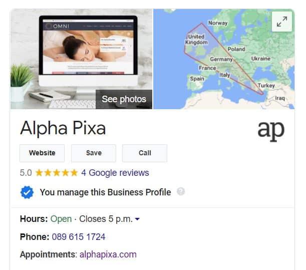 google my business listing for alpha pixa