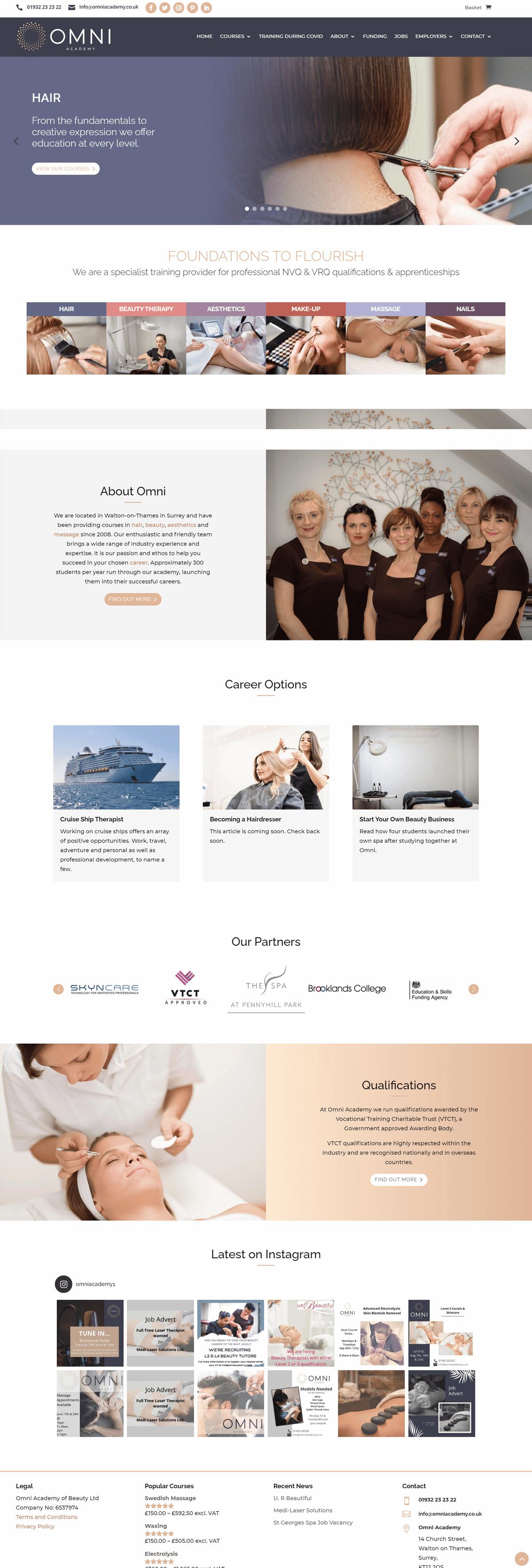 Screenshot of the Omni Academy of Beauty Website